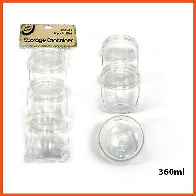 12 x ROUND STACKABLE CRAFT CONTAINERS 360ml | Jewellery Bead Jar Storage Glitter