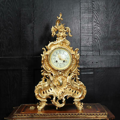 Large Antique French GIlt Bronze Rococo Clock