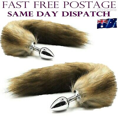 35b0267c6 Brown Stainless Steel Anal Butt Plug Faux Fur Cat Fox Tail Metal Anal Sex  Toy