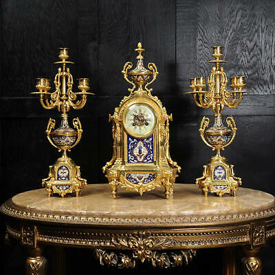 Cloisonne or Champleve Enamel Mounted Ormolu Antique French Clock Set