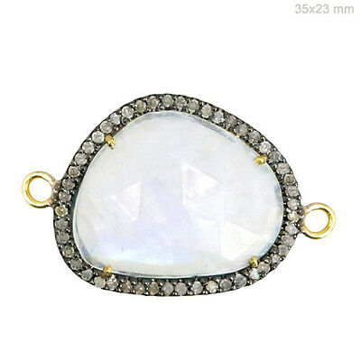 14 K Gold Diamond Pave Moonstone Connector .925 Sterling Silver Gemstone Finding