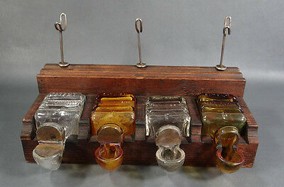 Antique German Fortschritt Patent Wood Ink Pen Stand Inkwell 4 Glass Ink Bottles