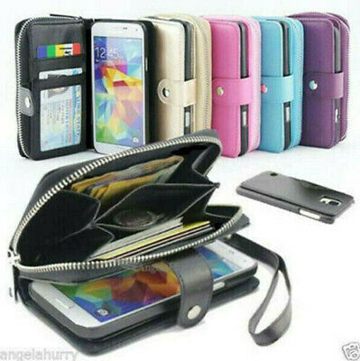 Samsung Galaxy S10 S10e S10+ Leather Zip Purse Wallet Magnetic Phone Case Cover