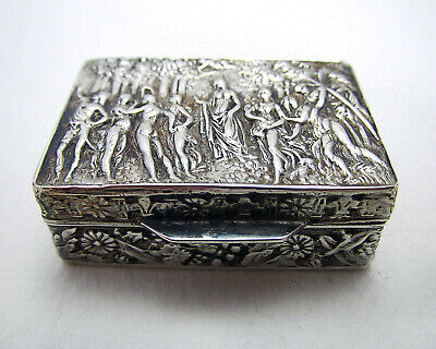 Beautiful Italian Vintage 1977 Solid Sterling SILVER Pill Snuff Pocket Box Case