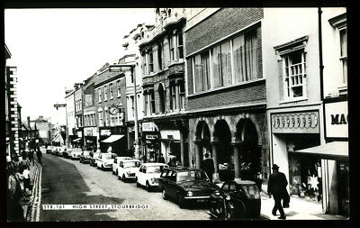 REAL PHOTO POSTCARD~STOURBRIDGE HIGH STREET w/RECORD SHOP~DUDLEY/WEST MIDLANDS