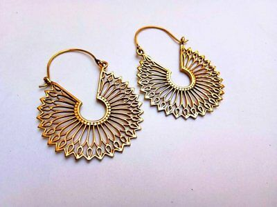 Fine Brass Tribal Boho Funky Mandala Gypsy Hoops Ethnic Earrings Handmade By075 Jewelry & Watches
