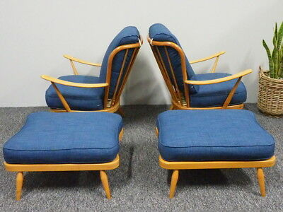 Vintage Mid Century Ercol Beech Wood Armchairs & Footstools Reupholstered