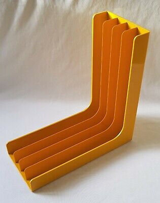 Vintage Retro 1970'S Yellow Decor Plastic Lp Record Rack - Suit 33 Rpm Records