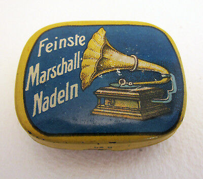 German Marschall Feinste Nadeln Gramophone Needle Metal Tin Case Box BLUE