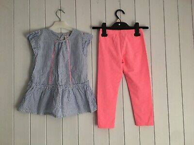 Girls summer outfit top + leggings size 7 years blue stripes pink Carter's VGC