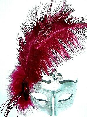 Masquerade Ball Silver Glitter Half Mask With Pink / Cerise Ostrich Feathers New