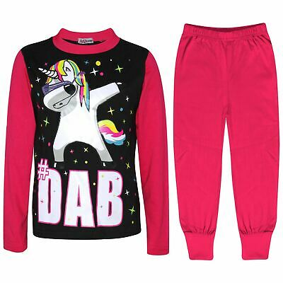 Kids Girls Dabbing Unicorn #Dab Pink Floss Pyjamas Loungewear Nightwear Pjs 5-13
