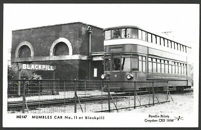 Swansea, W. Glamorgan. Mumbles Tramcar #11 at Blackpill Station. RPPC by Pamlin