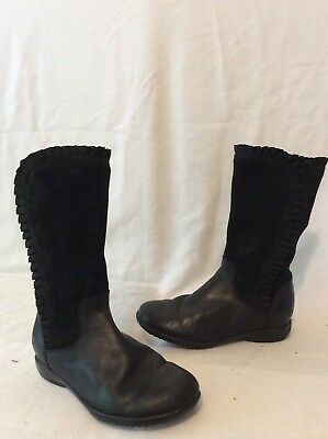 Girls Clarks Black Leather Boots Size 11.5G