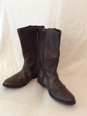 Girls Tu Brown Leather Boots Size 1