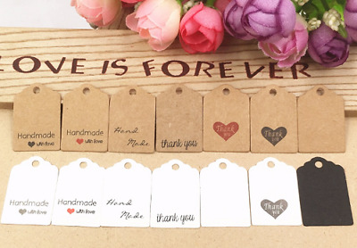 100 pcs 3x2cm hand made with love Kraft paper tags Thank you labels