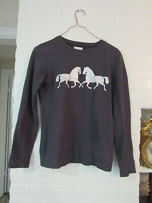 Girls Crewcuts Collectibles GREY with SILVER PRANCING HORSE Sweatshirt Size 14