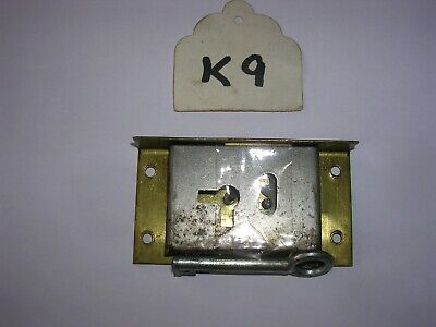 Antique Brass Cabinet / Box Lock With Key (K9)