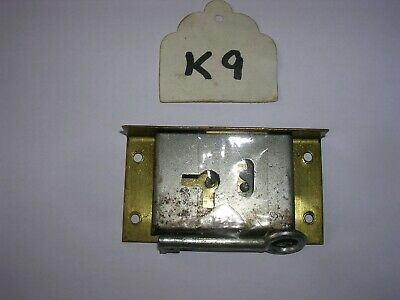 Antique Brass Cabinet / Drawer Lock With Key (K9)