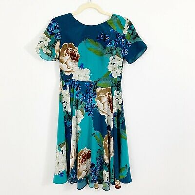 1b4356ad9a41f Anthropologie Corey Lynn Calter Paeonia Floral Dress Size 4 Blue Short  Sleeves