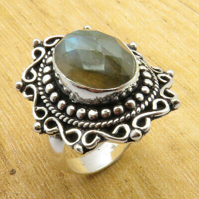 7.75 Size, Ring ! STUNNING Real Labradorite Silver Plated Jewelry ONLINE STORE