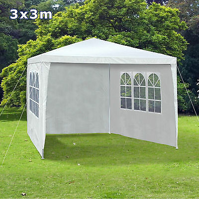 3Mx3M PE Garden Gazebo Marquee Canopy Awning Party Tent W/ Full Sidewalls White