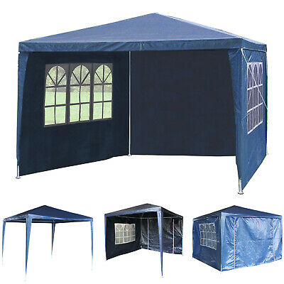 New 3Mx3M PE Garden Gazebo Marquee Canopy Awning Party Tent W/ Fullsidewall