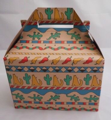 Southwest Chili Coyote Lizard and Cactus Cardboard Treat or Gift Box 12 Lot