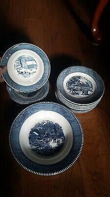 "Currier and Ives Assorted Bowls Plates Dishes ""The Old Grist Mill"" EUC Blue"