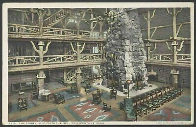 "Yellowstone Parque, USA el Lobby , Antigua Faithful Inn.Vintage ""Phostint CM"