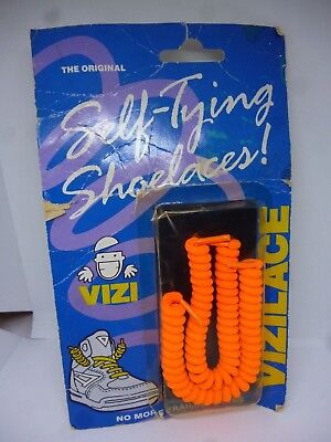 Self Tying Shoe laces Vintage in original pack Vizilace Bright Orange Trainers