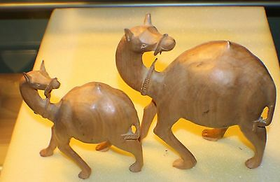Stunning Carved Pieces made of  Wood & Hand Made Set of two Camels