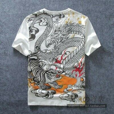 Men Summer Tops Cotton Pullover Chinese Dragon Printing Loose Casual T-shirt New