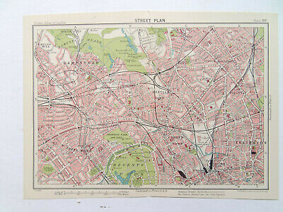 LONDON HAMPSTEAD KENTISH TOWN ST JOHNS WD   VINTAGE 1929 BARTHOLOMEWS MAP 9x6""