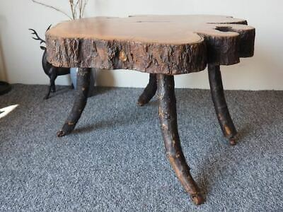 Late Victorian Hand Sawn Aged Live Edge Wood Slice Table UK DELIVERY AVAILABLE