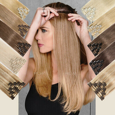 10-24inch 100% Clip In Real Remy Human Hair Extensions 8 pcs Full Head Highlight