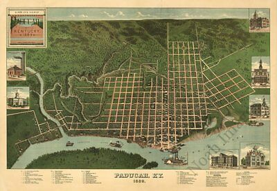Paducah Kentucky panorama c1889 map 36x24