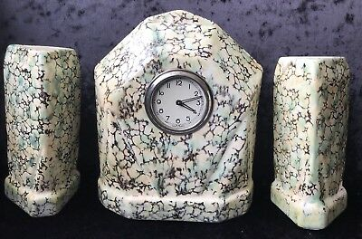 French Art Deco Ceramic Clock & Garnitures