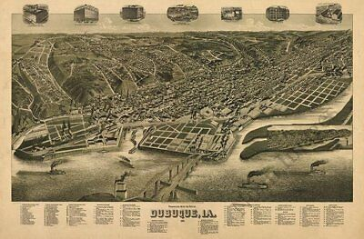 Dubuque Iowa c1889 map 36x24