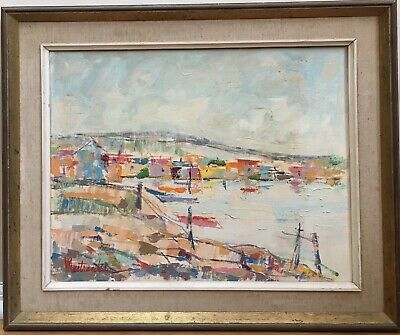 Vintage Mid Century Abstract Cubist Coastal Beach Cityscape Oil Painting