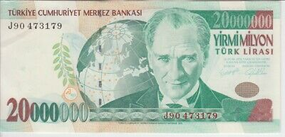 Turkey banknote P215 20,000 000 20.000 000 20000000 Lira series J90 UNC WE COMB.