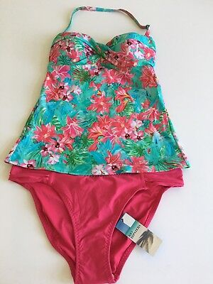 Marks & Spencer's Green Floral Mix Bandeau Tankini Top Pink Rio Hipsters Size 12