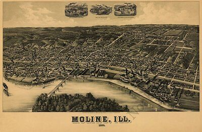 Moline Illinois panorama c1889 map 36x24