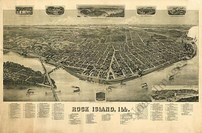 Rock Island Illinois panorama c1889 map 36x24