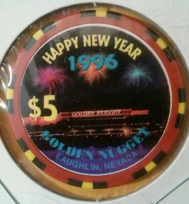 1996 Golden Nugget Casino Laughlin, Nevada Happy New Years Logo $5.00 Chip!