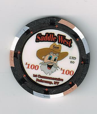X Rare Saddle West Hotel Casino Pahrump, Nevada $100.00 Chip Only 20 Made!