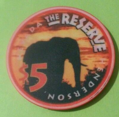 1998 The Reserve Casino Henderson, Nevada Elephant Logo $5.00 Hard To Find Chip!