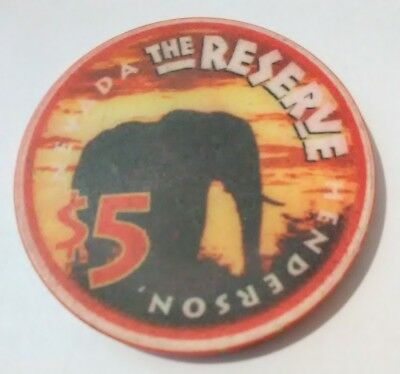 The Reserve Casino Henderson Nevada Elephant $5.00 Chip Great For Any Collection