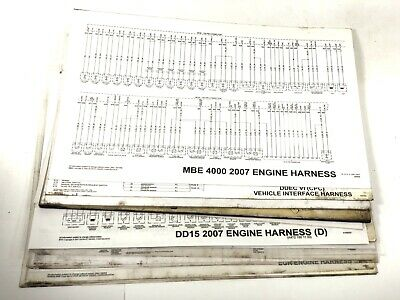 lot of 20+ detroit diesel wiring diagrams mbe 4000, dd15 2007, ddec iii