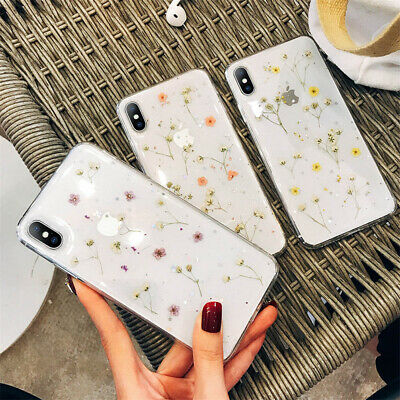 Real Dried Flower Rubber Shockproof Case Clear Cover for iPhone 7 8 X XR XS Max